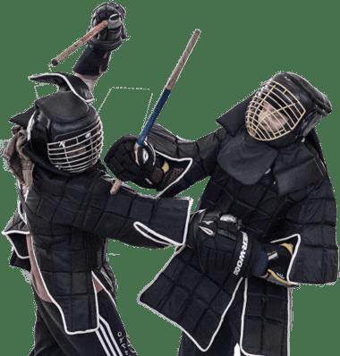 Stockkampf in Vollkontakt-Rüstung